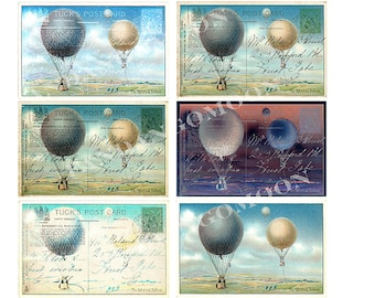 6 Images Hot Air Balloons Altered Art Antique Victorian Scrapbooking Digital Download Tags Cards Print