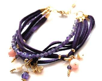Purple Amethyst Stones Multilayer Bracelet