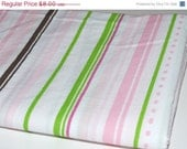 Final Clearance 75% OFF Strawberry Cheesecake Stripe - 1 yard vintage sheet fabric