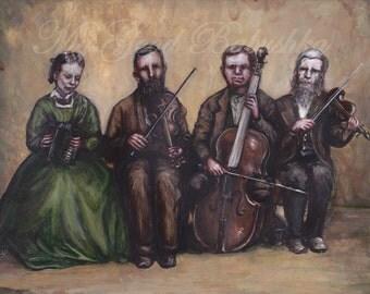 Hostetler Blind Family Quartet, Original Painting, Portrait, Musicians, Band, 19th Century, Pennsylvania, History, Accordion, Violin, Cello