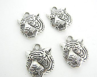 Set of 4 Pewter Tiger Head Charms