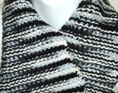 hand made black white gray striped short scarf neck warmer