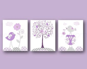 Purple and Gray Nursery Decor Baby Girl Nursery Art Baby Girl Decor Owl Nursery Bird Tree Children Art Toddler Nursery art Set of 3 prints