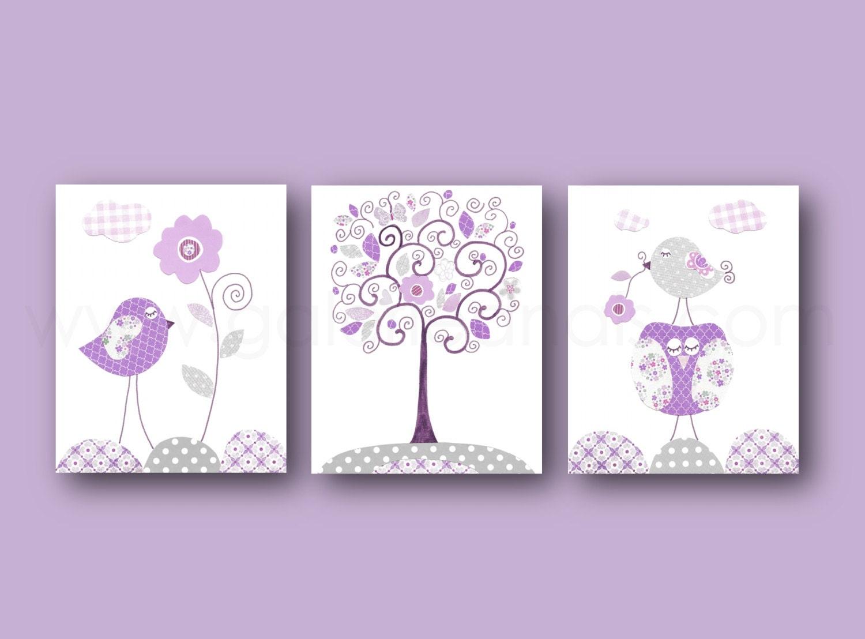 Baby Girl Nursery Art Nursery Decor Purple Gray Baby Girl