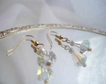 Crystal Earrings Wedding Bells Hand Made Vintage Crystal Beads and Pearls Gold Plated Featured Martha Stewart Wedding Party handcraftusa