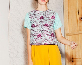 Women cropped Top African cotton Turquoise (( SALE))