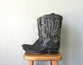 Vintage Tony Lama Boots •Classic Black Leather Cowboy Western Americana Cowgirl Motorcycle Leather Sole •SIze 9 5 D Me