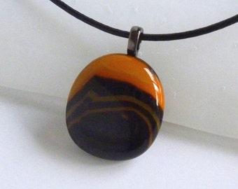Layered Black and Orange Fused Glass Pendant
