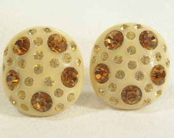 Vintage 50s Weiss Celluloid Plastic Rhinestones Earrings Amber Topaz Beige