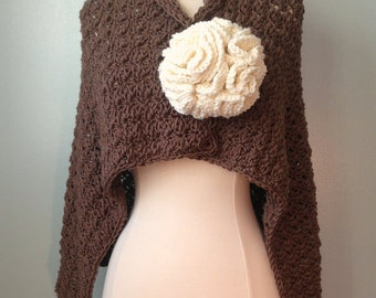 Wild West Shawl and Giant Blossom Pin Crochet Pattern, Big Flower Crochet Pattern