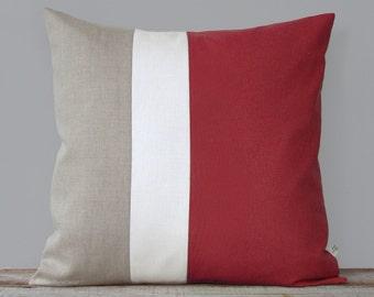 MARSALA Colorblock Pillow Cover (20x20) Modern Home Decor by JillianReneDecor - Linen Color Block Pillow - 2015 Pantone - Decorative Pillow