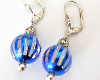 SALE - Unique blue glass earrings, Blue contemporary dangle earrings - funky jewelry