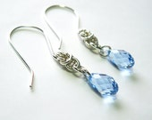 Sterling Silver Half Byzantine Chainmaille Earrings with Swarovski Light Sapphire Crystal