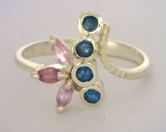 Pink Sapphire and London Blue Topaz Handmade Sterling Silver Ladies Ring size 7