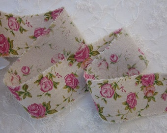 Cotton Linen Pink Rose Flower Floral Ribbon Trim Vintage Like Shabby Chic Baby Doll Pageant Quilt Bridal Sash Clothing