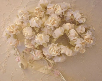 36pc Chic CREAM Satin Organza Ribbon Wired Rose Peony Flower Reborn Doll Bridal Wedding Bow Hair Accessory Applique