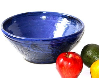 Stoneware Multipurpose Bowl in Cobalt Blue with Abstract Carving  for Mixing or Serving