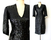 60s Wiggle Dress / 60s Sequined Cocktail Dress / SHINING SEQUIN