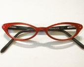 FLAWED Hinge Kitten Cat Eye Eyeglass Frames Vintage 90's NOS Red Back Thennish Vintage