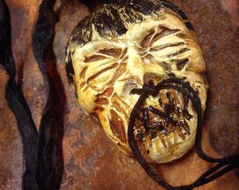 225. Halloween Inspired Zombie Shrunken Head Skull Skeleton Raku Build Your Own Monster Pendant