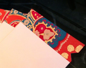 set of 4 colorful perforated tear away gift envelopes - orange - turquoise - gold