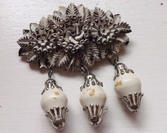 Vintage Art Deco floral molded celluloid dangle brooch with wood beads wedding cake pin black and white