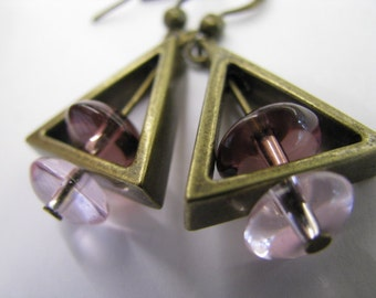 Lavender Earrings, Triangle Earrings, Lavender and Antique Bronze Earrings, Geometric Pyramid