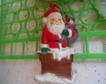 Vintage Santa in Chimney Christmas Ornament Made in Hong Kong