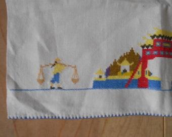 Vintage Linen Oriental stitched Kitchen Towel