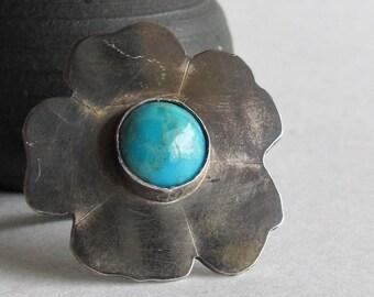 Turquoise Tudor Rose Ring - Size 8.5 - Statement Ring - Flower Ring