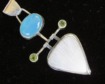 Sterling Silver Brutalist Blue Chalcedony and Scolecite Deva  pendant