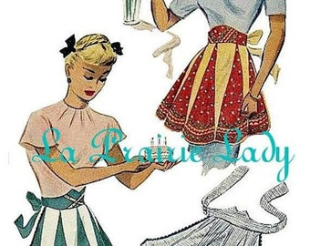 Repro Vintage Half Apron 40's PDF Pattern No 29 Available in MED and LG