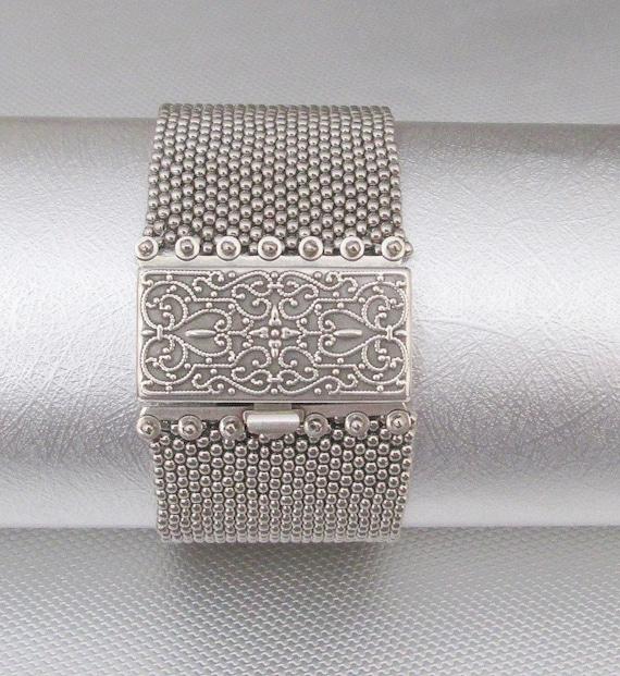 silver beaded cuff seed bead bracelet beaded jewelry