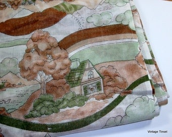 Vintage Fabric, Scenic Pictorial, Sheer, Greens, Browns  (438-10)
