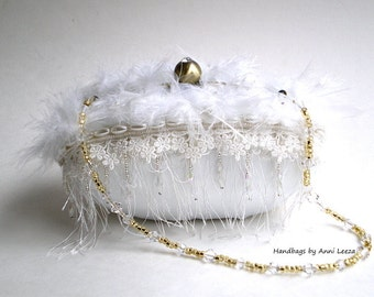 white bridal clutch, evening bag, bridal purse, shabby wedding, couture bridal bag, ostrich feathers, flapper purse, prom