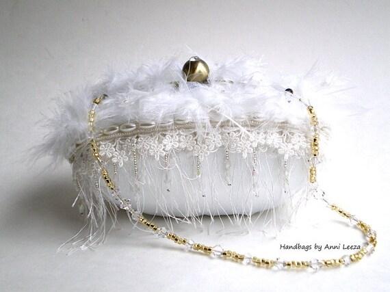 white bridal clutch, evening bag, bridal purse, shabby wedding, couture bridal bag, ostrich feathers, flapper purse, prom