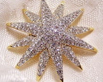 Vintage Swarovski Pave Set Star Brooch Signed with Swan Sparkly and Near New Condition (J23)