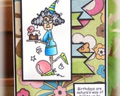 Funny Birthday Old Lady Handmade Greeting OOAK
