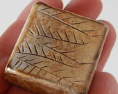Tiny tile, rust cream colored tile with etched line drawing, miniature