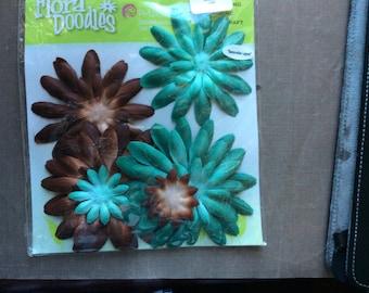 Petaloo Flora Doodles teal/brown