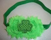 Green Shabby Chic Frayed Flowers on Elastic Headband With Shamrock