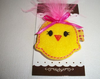 Felt Embroidered Easter Chick, Clippie, Hair Bows, Toddlers Hair Clips, Girls Hair Clips, Easter, Easter Chick, Felties, Bows (Item 17-041)