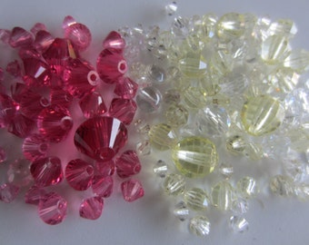 Vintage glass beads jewelry making, heavy weight, faceted pink and clear cut glass,  2.25 ounces(mar 416)