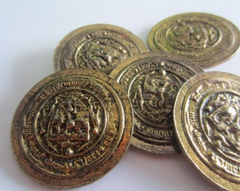 Vintage Buttons -5 extra large bronze crested, super heavy weight metal buttons, (apr 123)