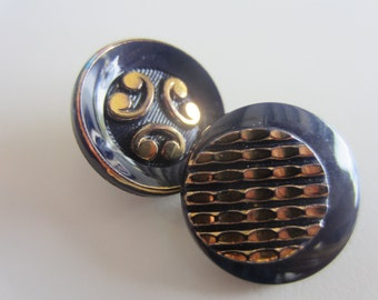 Vintage Buttons - lot of 2 assorted dark navy hand painted gold accents glass and old and sweet(lot apr 268 )