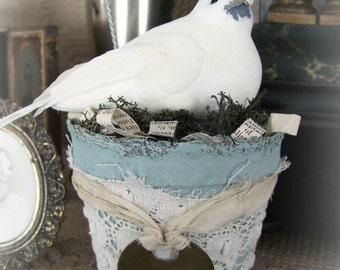 Spring  Bird Flower Pot Vintage Peat Pot  Handmade Spring Decoration Altered Peat Pot Vintage Bird Decoration Shabby White Dove Vintage Aqua