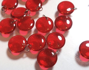 True Red Handmade Acrylic Resin Transparent Puffy Lentil Charms Geometric Dangles Buttons Cabochons Pendants A3