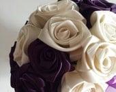 Ivory/ deep plum Keepsake Wedding bouquet for your bridesmaid.