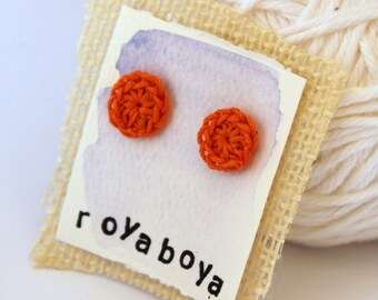 crochet earrings - orange round stud nickel free post perfect bridesmaid mothers day gift