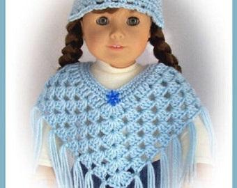 Handmade Doll Clothes, Made To Fit American Girl, Pretty Crochet Light Blue Poncho Set, ,18 Inch, Handmade